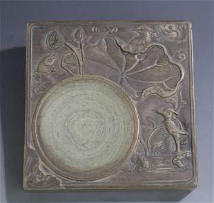 A FINE FISH CARVING CHINESE CALLIGRAPHY STONE INK