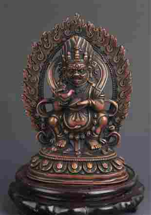 A TIBETAN BUDDHISM MAHAKALA GOD OF WEALTH STATUE