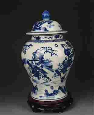 BLUE AND WHITE STORY PAINTED GENERAL TYPE VASE