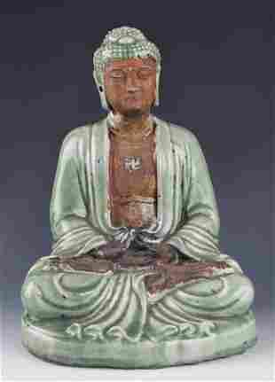 LONG QUAN KILN FINELY PAINTED PORCELAIN BUDDHA