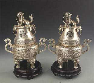 PAIR OF FINELY CARVED BRONZE AROMATHERAPY