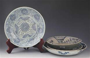 GROUP OF BLUE AND WHITE PORCELAIN PLATE