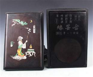 A FINELY CARVED CHINESE CALLIGRAPHY STONE INK
