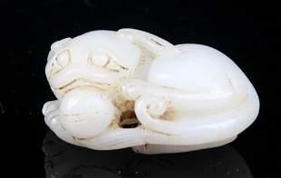 A FINE RUI SHOU CARVING WHITE JADE PENDANT