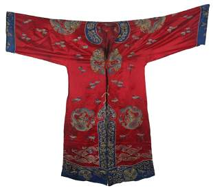 A FINE RED COLOR EMBROIDERED ROBE