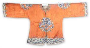 A ORANGE COLOR CHINESE EMBROIDERED ROBE
