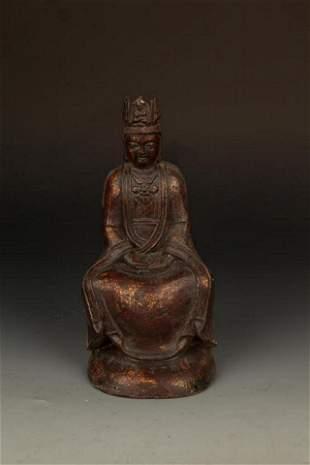 A FINE CAST IRON FIGURE OF AMITAYUS BUDDHA