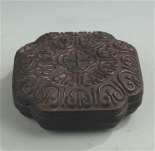 RARE RED WOOD RUYI PATTERN WOODEN BOX WITH COVER