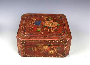A GILT LACQUERED FLOWER PAINTED WOOD BO;
