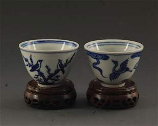 PAIR OF BLUE AND WHITE BIRD PATTERN PORCELAIN CUP