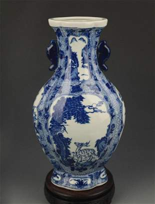 BLUE AND WHITE STORY PATTERN DOUBLE EAR PORCELAIN VASE