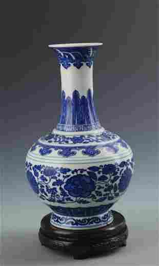 RARE BLUE AND WHITE FLOWER PATTERN PORCELAIN VASE