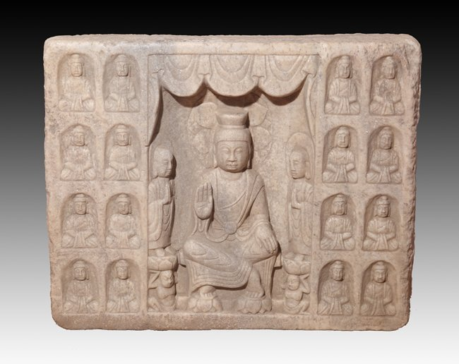 A RARE AND LARGE STONE BUDDHIST STELE