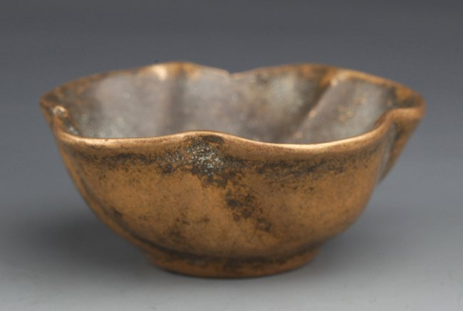 "A BRONZE ""PEACH BLOSSOM"" BRUSH WASHER"