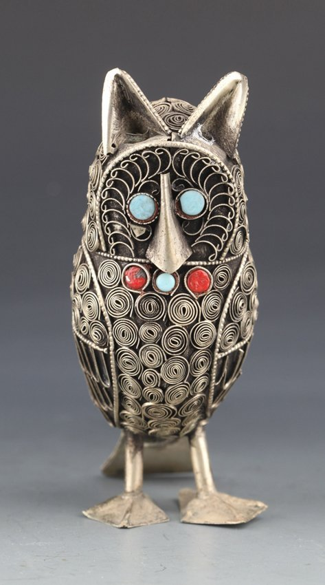 "A RARE FIGURE OF ""OWL"" BRONZE STATUE"