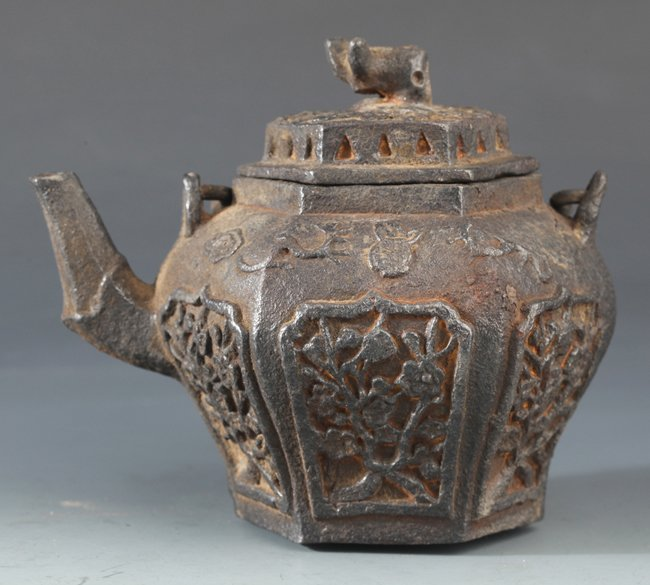 "A RARE ""PLUM BLOSSOM"" CARVED IRON TEA  POT"