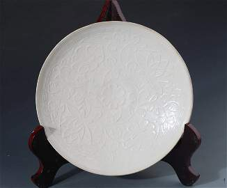 """A RARE AND FINLY CARVED PROCELAIN PLATE, """"DING YAO"""""""