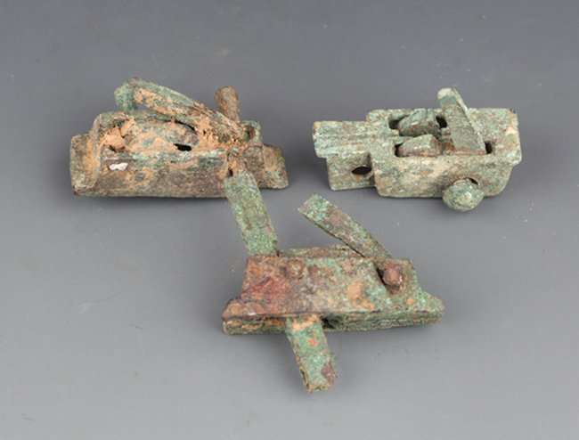 A GROUP OF THREE CROSSBOW PARTS