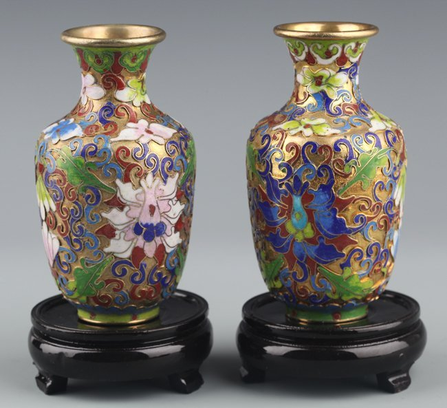 A PAIR OF BRONZE CLOISONNÉ ENAMEL FLOWER BOTTLE