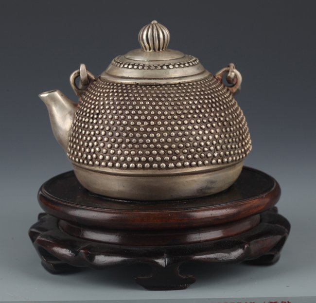 """A FINELY """"DRAGON"""" CARVED SILVER PLATED TEA POT"""