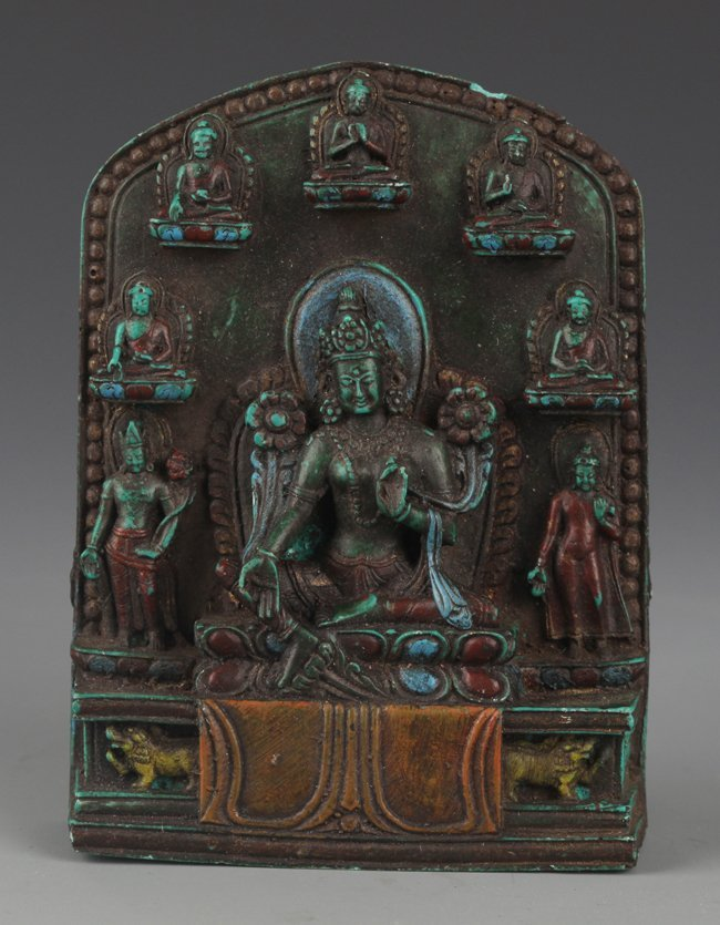 A FINELY CARVED TURQUOISE TIBETAN BUDDHISM
