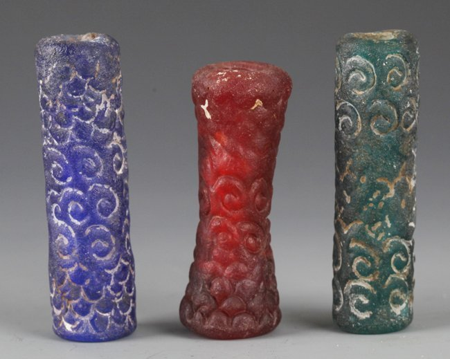 """A GROUP OF THREE VERY OLD GLASS PENDANT """"LEI ZI"""""""