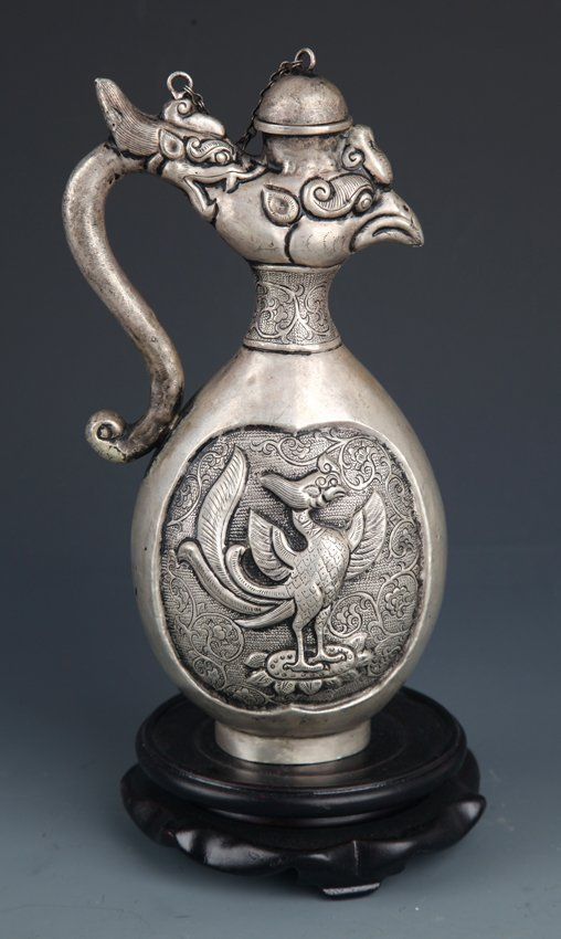 A FINELY HAND CARVING, PHOENIX SHAPE WATER POT