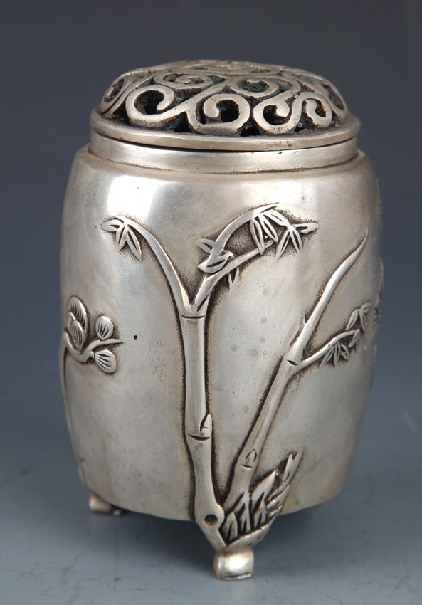 A SILVER PLATED BAMBOO CARVING AROMATHERAPY
