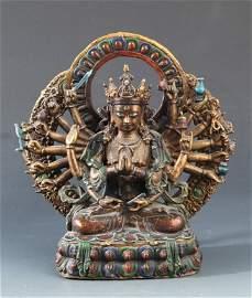 A RARE PARCEL-GILT COLOR BRONZE FIGURE OF BUDDHA