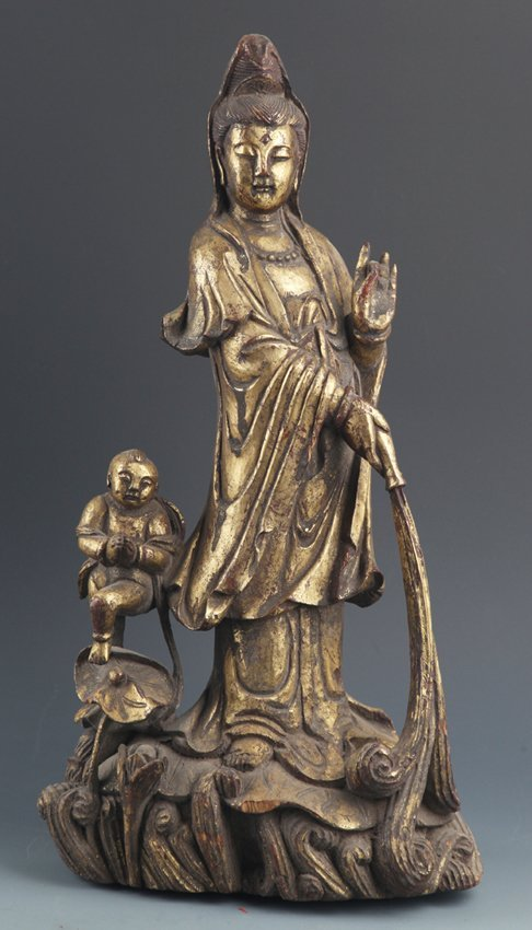 """A FINELY CARVED WOOD DECORATION""""GUAN YIN Song Dynasty"""