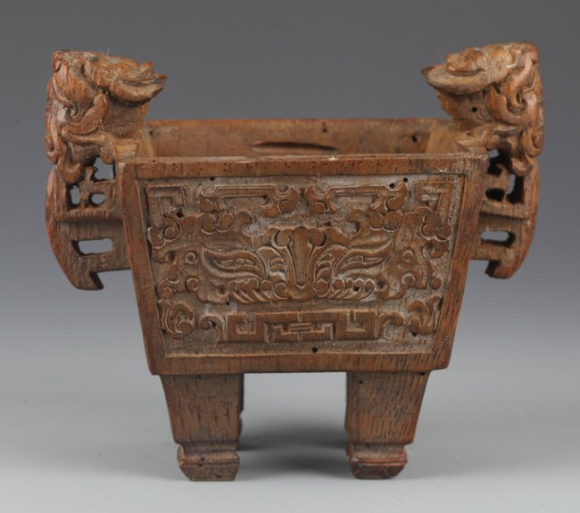 """A FINELY BAMBOO ROOT CARVED """"DING"""" LIKE CENSER"""