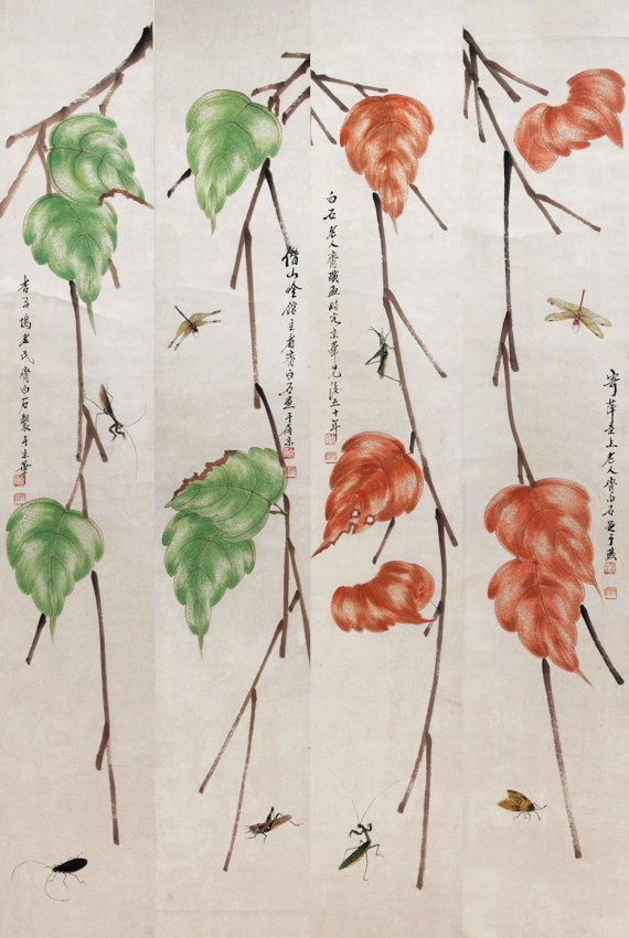A SET OF FOUR QI BAI SHI PAINTING (ATTRIBUTE TO