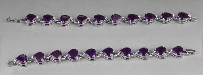 A PAIR OF PURPLE ZIRCON BRACELETS (10 PCS)