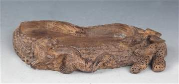 A FINELY DRAGON CARVED AGARWOOD BRUSH WASHER