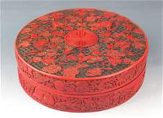 A FINELY CARVED CHINESE LACQUER JEWELRY BOX