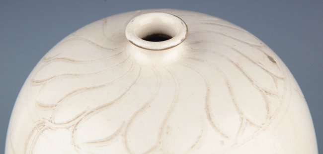 A LARGE FLOWER CARVED WHITE COLOR PORCELAIN BOTTLE, - 2