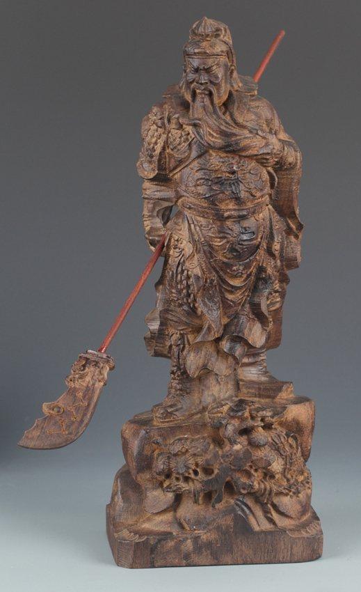 A LARGE AGAR WOOD GUAN GONG DECORATION