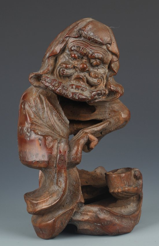 A FINELY BAMBOO ROOT CARVED BODHIDHARMA ROHAN