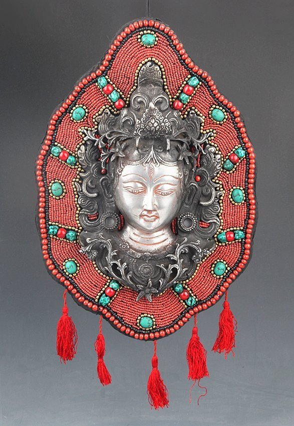 A FINE CORAL AND TURQUOISE BUDDHA DECORATION