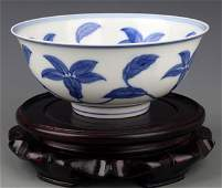 A FLOWER PAINTED BLUE AND WHITE PORCELINA BOWL