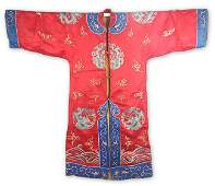 A RED COLOR DRAGON EMBROIDERED COURT ROBE