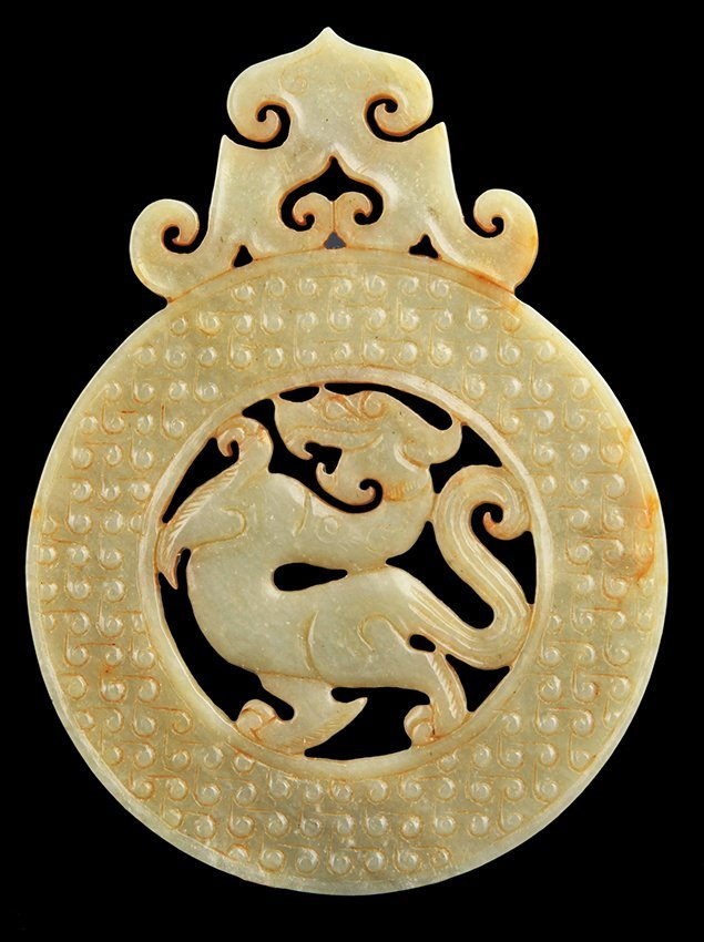 A ROUND DRAGON CARVING JADE