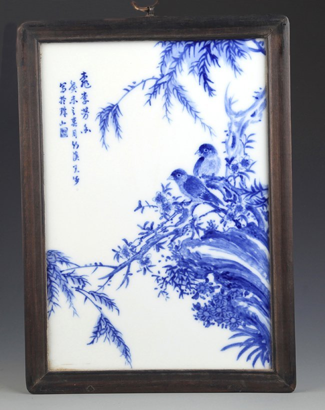A FINELY PAINTED BLUE AND WHITE PORCELAIN PANELS