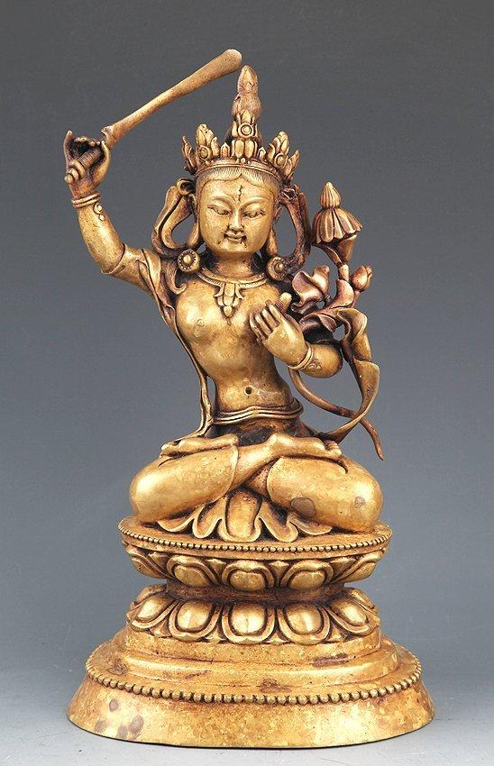 A VERY DETAILED CARVING BRONZE MANJUSHRI BUDDHA