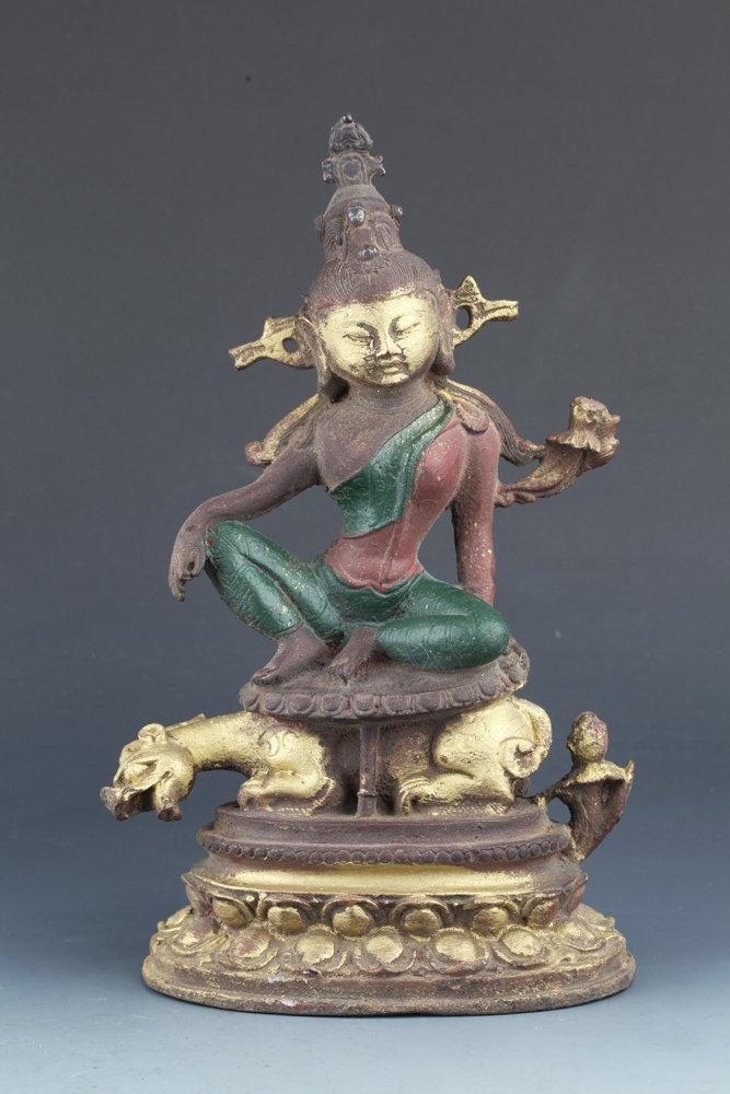 AN LARGE UNUSUAL COLORED IRON MANJUSHRI BUDDHA