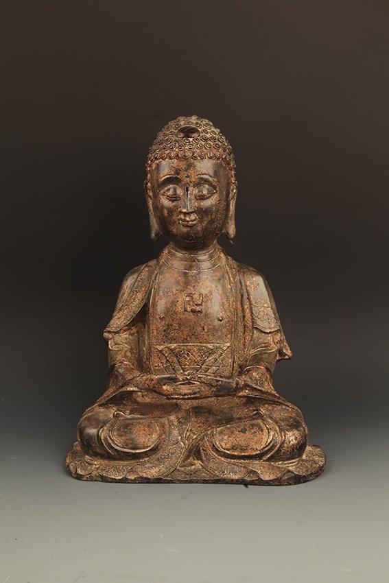 A LARGE BRONZE NAMO AMITABHA BUDDHA
