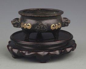 A Double Lion Ear Bronze Censer