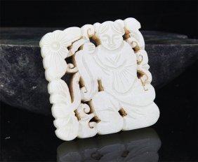 A Lotus With Boy Figure Pale Celadon Jade