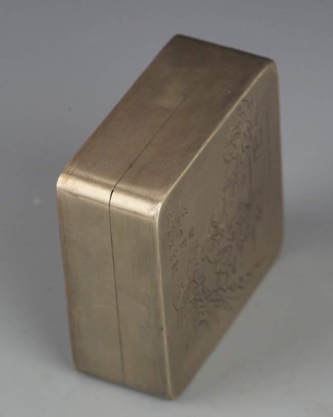 A FINELY STORY CARVING BRONZE INK BOX - 5