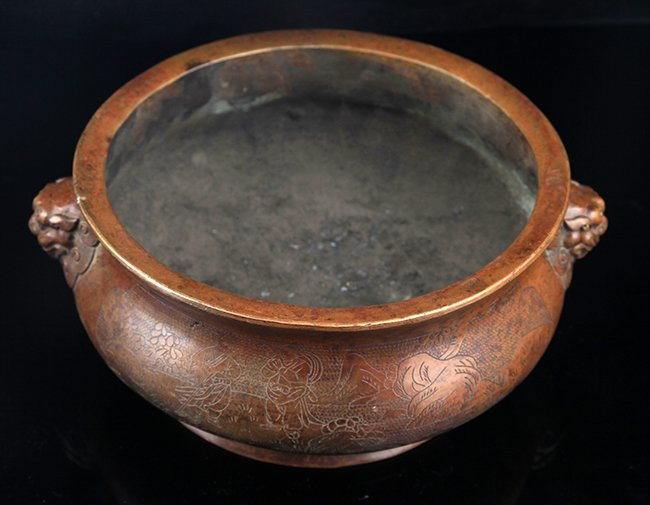 A FINELY CARVED LION EAR ROUND BRONZE CENSER - 2